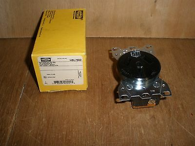 NEW Hubbell HBL7962 50A 3 pole 125/250V 3 wire Flush Mount Black Receptacle 7962