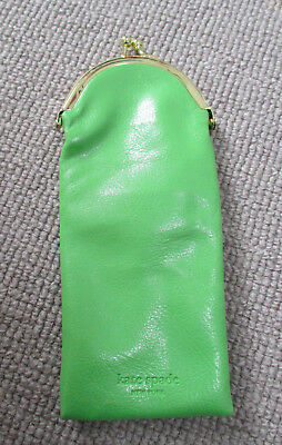 Kate Spade green glasses case / holder - snap closure