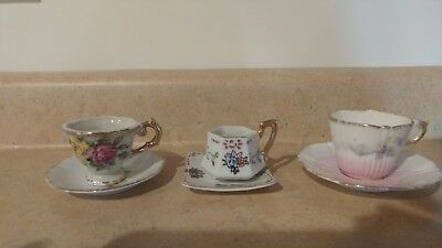 3 sets of small tea cup and saucers