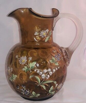 Gorgeous Victorian Hand Painted Floral Enamel Glass Pitcher w/ Applied Handle