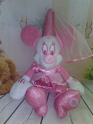 """DISNEY STORE LONDON Pink Shimmer Princess Minnie Mouse Plush soft toy 16"""""""