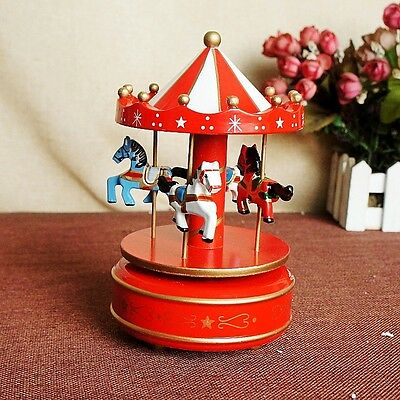Chinese Wooden & Plastic cement Handmade Carousel model music box A3588E20
