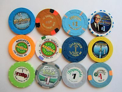 NEVADA CASINOS - LOT of 12  OBSOLETE CASINO CHIPS