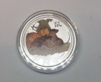 2008 AUSTRALIAN LUNAR YEAR OF THE MOUSE (RAT) *COLORIZED* 1/2oz SILVER COIN *BU*