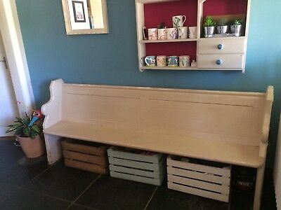 Wooden Church Pew with Neutral Distressed Paint Finish
