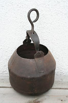 Antique Wrought Iron And Riveted Steel Hanging Cauldron