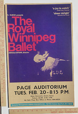 Royal Winnipeg Canada Ballet Poster Duke North Carolina 1962 1968 ?