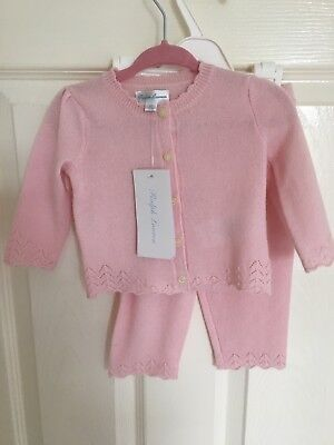 Ralph Lauren Baby Girl Pink Cardigan And Trousers Set Up To 6 Months 100% Wool