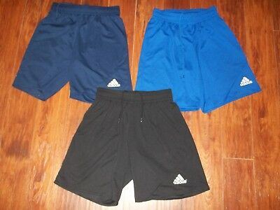 Lot 3 Mens Adidas Black Blue Navy Climalite Workout Shorts Unlined Size S