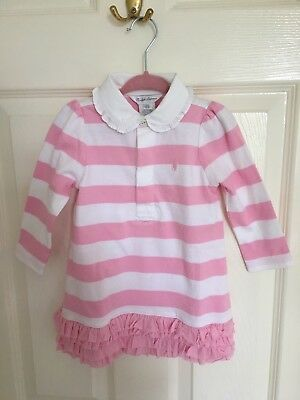 Ralph Lauren Baby Girl Pink And White Striped Polo Dress Up To 12 Months.