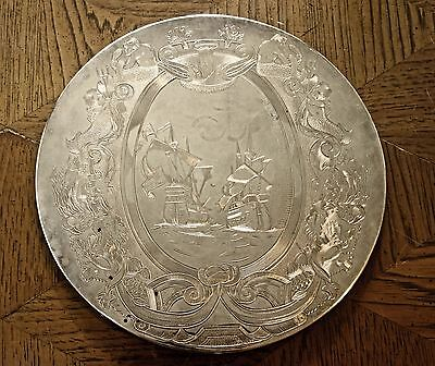 Antique Falstaff Silver Plate, .England...Coaster, 9 inches diameter, felt base
