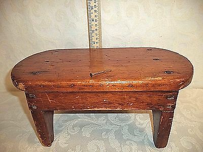 Antique Primitive Wooden Cricket Stool Foot Stool Candle Riser Has Square Nails