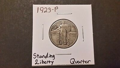1923-P Standing Liberty Quarter!  90% Silver! Free Shipping!