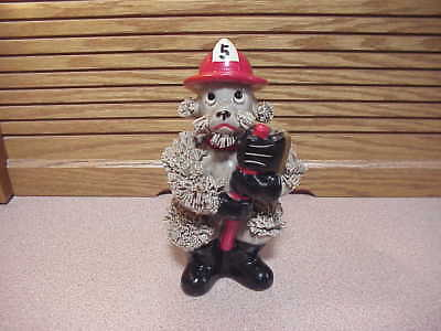 Gray Poodle Fireman Holding Ax In Hand - Number 5 On Red Hat - Handsome