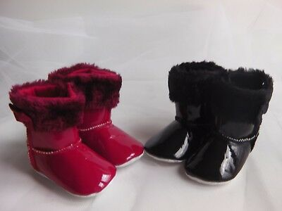 Baby Girl Pre-Walker PATENT soft boot with faux fur trim and ribbon bow detail