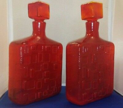 1960's BEAUTIFUL FIRE RED ITALIAN DECANTER'S CUBIC DESIGN PAIR W/STOPPERS