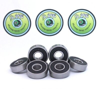 8 x TITANIUM SLIME - ABEC 9 608 RS Water Resistant Rubber Seal Skateboard /