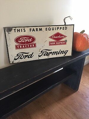 "Vintage 1950's Ford Tractor Dearborn Equipment Farm Gas Oil 22"" Metal Sign"
