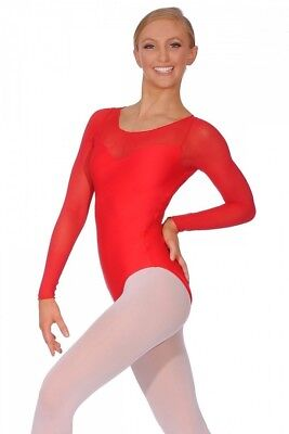 (Red, Large) - Ballet Rosa Perle Ladies Long Sleeve Leotard. Shipping Included