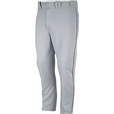 (Small, Grey/Navy) - Majestic Men's Zipper Front Baseball Pant with Piping