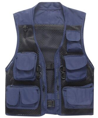 (Asia:M / US:XS, Navy) - Outdoor Quick-Dry Fishing Vest; Marsway Multi Pockets