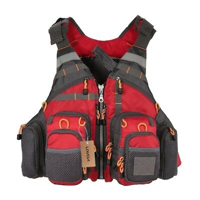 (Red) - Lixada Mesh Fly Fishing Vest and Backpack Breathable Outdoor Fishing