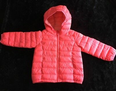 Baby Gap 3t Cold Control Lite Puffer Hoodie Coat Jacket Pink Coral