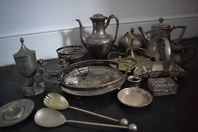 large joblot of silver plate and espn teapots, trays, goblet candlestick