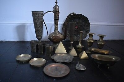 antique large joblot of brass and bronze items
