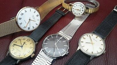 Job lot of old gents ladies mechanical watches spares or repair