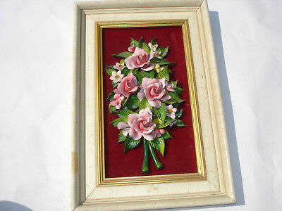 Vintage Ceramic Framed With Flowers Hand Painted Italian / Spain Capodimonte