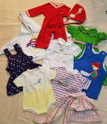 Vintage 10 pc clothing lot mixed girl boy toddler baby infant bonnet one piece