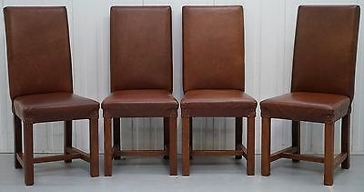 Set Of 4 Total Rrp £1180 Halo Soho High Back Brown Leather Dining Chairs Four