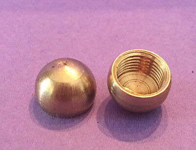 "LOT OF 2: NEW Unf Solid Brass 1/2"" Ball Cap Finial KNOB tap 1/8 IPS       #742-8"