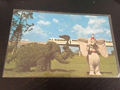 Vintage Postcard Walt Disney World Florida Monorail And Dumbo