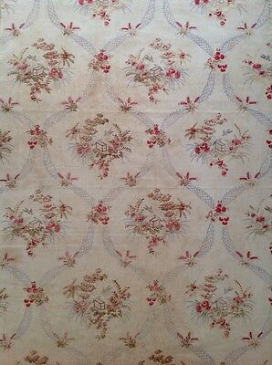 Antique French Shabby Faded Cotton Fabric Birds & Roses