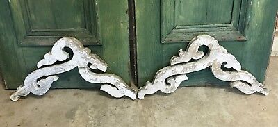 Antique Gingerbread Brackets circa 1850 with White chippy Paint