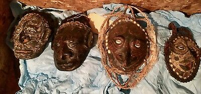 Collection of 9 old Papua New Guinea Middle Sepik turtle shell masks