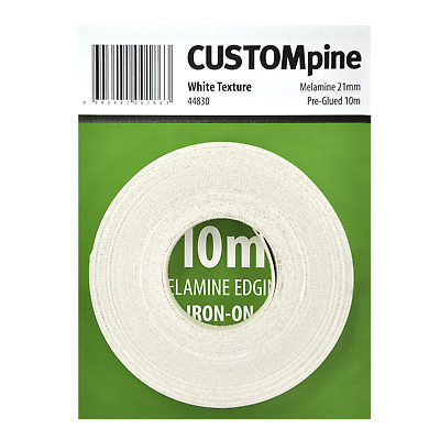 CustomPine WHITE IRON-ON MELAMINE EDGING TAPE for Covering 16mm Board, 21mmx10m