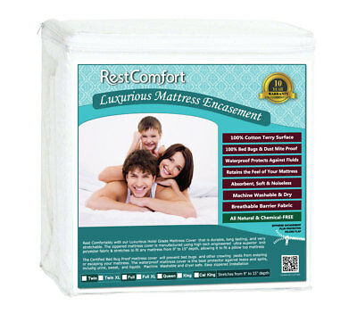Waterproof Cotton Terry Top Mattress Protector Zippered Dust Mite Bed Bug Proof,