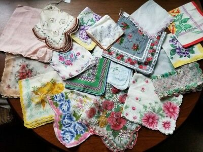 Outstanding Vintage Floral Hankies Hanky Lot Of 17 Mostly Minty!!!!