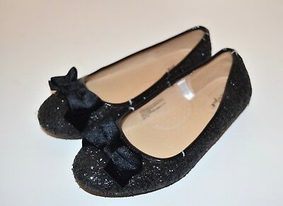 Cat & Jack Girls Black Glitter Velvet Bow Ballet Flat Dress Shoes, Size 4 Youth