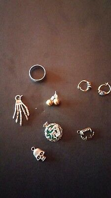 Small Ring, Earrings, & Charms & Rope necklace lot WITH BONUS FREE ROPE NECKLACE