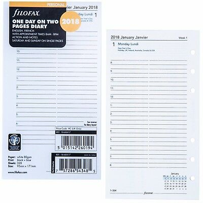2018 Filofax 18-68417 Personal Size Diary Refill One Day on Two Pages 95mmx171mm