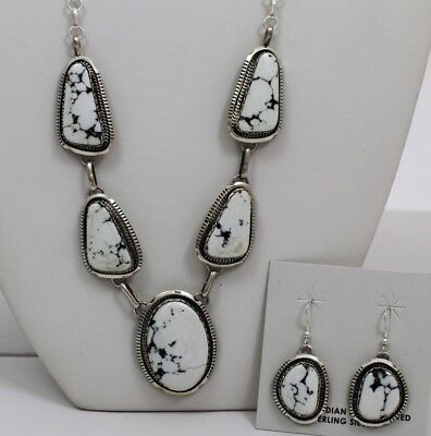 Navajo Indian Set White Buffalo Turquoise Necklace Earrings Sterling Silver  Aug