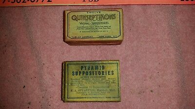 Lot of antique Suppositories: Pyramid (rectal) and Quinseptikons (vaginal)