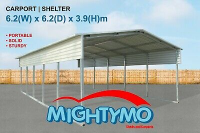 Large Steel Carport, Shelter 6.2x6.2M Yard, Backyard shelters, Portable Carports