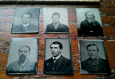 Vintage LOT of 6 small locket size tin type photos for watch fob charm jewelry