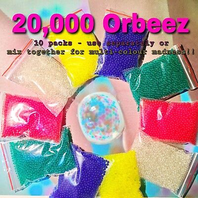 ORBEEZ!!! Qty 20,000 [4000 X 5 Colours] 8mm - Mix them for multi colour madness!