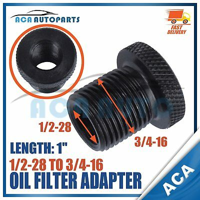 Automotive Oil Filter Steel Black Knurled 1/2-28 to 3/4-16 Threaded Adapter New